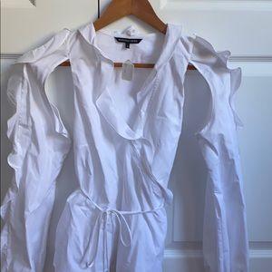 Marissa Webb white ruffled top size small
